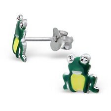 Sterling Silver 925 Novelty Green Frog Crystal Eyes Stud Earrings