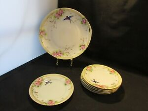 Set of 5 and Serving Plate Roses Japan Lusterware Plates Blue Bird Hand Painted