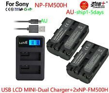 AU 2xNP-FM500H Battery + Dual LCD Charger for Sony A900 A700 A350 A200 A550 A560