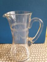 Vintage Etched Glass Water Jug. 19.5cm Tall