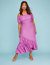 21e07c0bbd9 LANE BRYANT WOMEN S PURPLE OFF THE SHOULDER RUFFLE MAXI DRESS PLUS Sz 18 20
