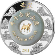 Laos 2021 2000 Kip Lunar - Year of the Ox 2oz with Jade Proof Silver Coin