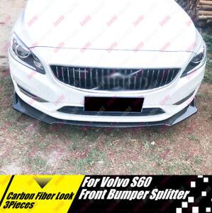 For Volvo S60 Sport T5 R Polestar Carbon Fiber Print Front Splitter Body Kit