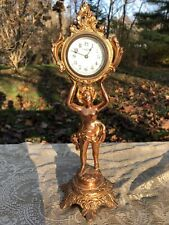 Antique Figural Gilded Brass/Bronze New Haven Clock C.1900 Usa