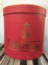 Christys' Large Hat Box for Single Tall Top Hat or Wider Fedora - Red and Gold