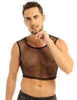 Men's Mesh Sheer Fishnet Crop Top GYM Muscle Undershirt Tank Top Vest Clubwear
