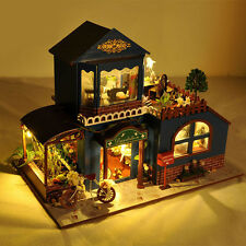 Kits DIY Wood Dollhouse Miniature With LED+Funiture+Garden+Balcony Doll Room