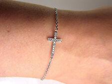 14k White Gold Designer Women's Diamond Cross Bracelet