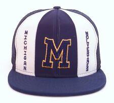 VINTAGE AJD STRIPES Michigan Wolverines Meshback Made In USA SNAPBACK HAT CAP...