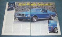 "1968 Ford Mustang GT Fastback Vintage Article ""One Man's Treasure"" --From 1995--"