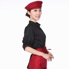Ladies Beanie Beret Hat Chef Waitress Worker Kitchen Baker Caps Solid Adjustable