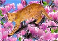 "BCB Orange Tabby Cat Climbing a Magnolia Tree Print of Painting ACEO 2.5"" x 3.5"""