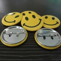 10Pcs Smiley Face Winking Yellow 1 Inch Button Pin Badge