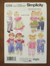 """SIMPLICITY PATTERN - 4268 BABY DOLL CLOTHES DRESS OVERALLS SHIRT PANTS 15"""" UNCUT"""
