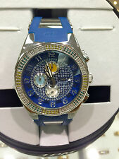 TECHNO JPM CHRONOGRAPH DIAMOND MULTI COLOR BLUE STAINLESS RUBBER WATCH