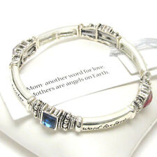 MOM Another Word For Love Mothers Are Angels On Earth Red Purple Blue  Bracelet