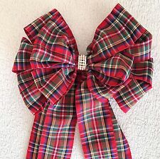 """Large 8"""" Tartan bow with jewelled centre"""