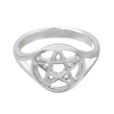 Wiccan Pentacle Ring Women Witchcraft Punk Rings For Men Jewelry Size 7.5