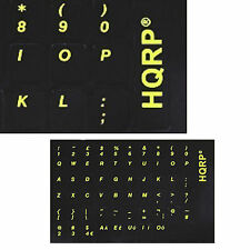 UK US Keyboard Stickers Yellow Lettering on Black Background for Black Keyboard