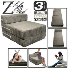 Jumbo Cord Single Chair Bed Sofa Z bed Seat Foam Fold Out Guest Futon Kids
