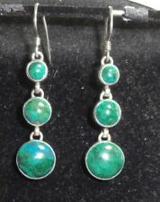 CHRYSACOLA PIERCED HOOK EARRINGS STG SILVER  3 STONES  DROP NEW NOT BOXED
