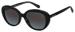 Coach Sunglasses HC 8289 55828G 53 Black Glitter Signature C  Grey Gradient Lens