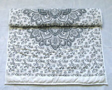 Grey Floral Mandala Baby Quilt Handmade Reversible Coverlet With Cotton Filled