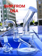 """Collectible Tobacco Glass Water Pipe Bong Bubbler Hookah Rig 6"""" w Banger + Bowl"""