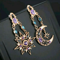 1 Paar Ohrringe Gold Stern Sonne Mond Kristall Funkelnd Strass Ohrstecker Lila