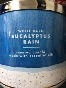 NEW Bath & Body Works White Barn Eucalyptus Rain 3-wick scented Candle 14.5 oz