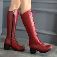 New Riding Knight Knee High Boots Womens Mid Chunky Heel Lace Up Zip Shoes AU SZ