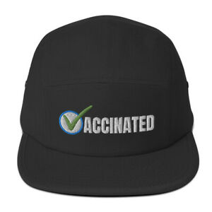 Vaccinated Check Vaccine Embroidered Five Panel Cap Hat