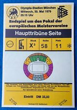 1979 Unused European Cup Final Ticket - Forest v Malmo