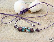 Handmade Lampwork Glass Crystals Bar Choker Necklace purple waxed string New