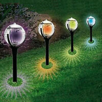 LED Pathway Light Color Changing Solar Power Ball Stake Light Garden Lamp Decor