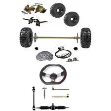 """29"""" Go Kart Rear Axle Kit + Front Steering Wheel Gear Rack Pinion+6"""" Wheels Golf"""