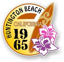 RETRO SURF BOARD SURF Huntington Beach CALIFORNIA 1965 AUTO CAMPER VAN Adesivo
