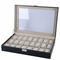 3~24 Slots PU Leather Wrist Watch Display Box Storage Holder Organizer Case Lot