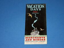 Vtg Art Deco 1927 Merchants & Miners Transportation Co Brochure cruise ship