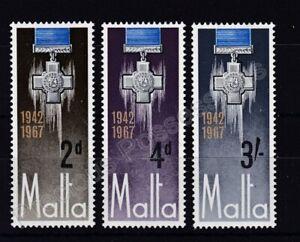 MALTA MNH STAMP SET 1967 GEORGE CROSS AWARD TO MALTA SG 379-381