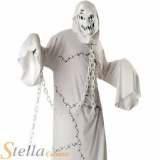 Mens White Cool Ghoul Ghost Halloween Fancy Dress Costume Adult Outfit