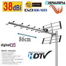 Antena TV Para Exterior Digital FULL HD UHF 38 dBi TDT DVB-T Filtro LTE Activo