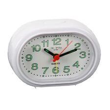 Wm. Widdop Reloj Despertador - Ovalado Blanco Compacto Pitido Función 5155W