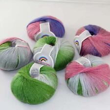 New 6Balls x50g Soft Warm Cashmere Wool Colorful Rainbow Shawl Hand Knit Yarn 07