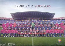 Postal postcard Plantilla/Team FC BARCELONA 15/16 DinA4