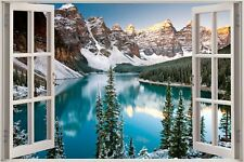 Cheap 3D Window view Exoitic Mountain Lake Wall Sticker Film Art Wallpaper S104