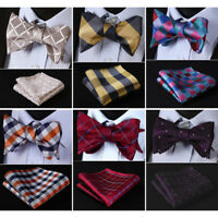 HISDERN Men Woven  Check Dot  Self Bow Tie Silk Wedding Handkerchief Set#RC3
