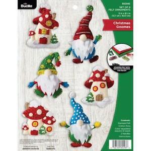 Bucilla Felt Ornaments Applique Kit Set of 6 - Christmas Gnomes
