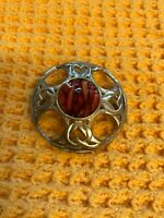 Vintage Celtic Knot Shield Brooch With Agate Stone