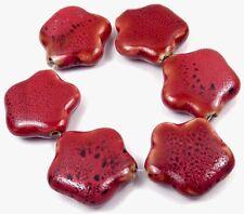 6 Red  Porcelain Star Pendant Beads 32mm
